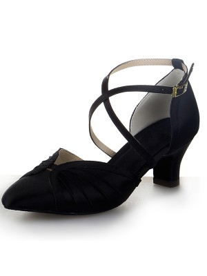 New Closed Toe Satin Chunky Heel Buckle Dance Shoes