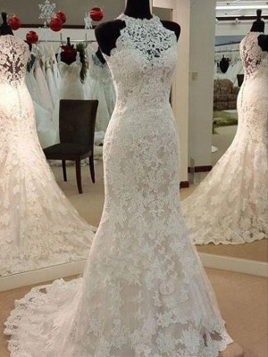 Sheath/Column Scoop Long Lace Wedding Dress