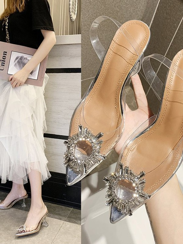 Rhinestone Kitten Heel Closed Toe Sandals