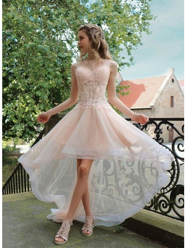A-Line/Princess Tulle Applique Sheer Neck Asymmetrical Dresses