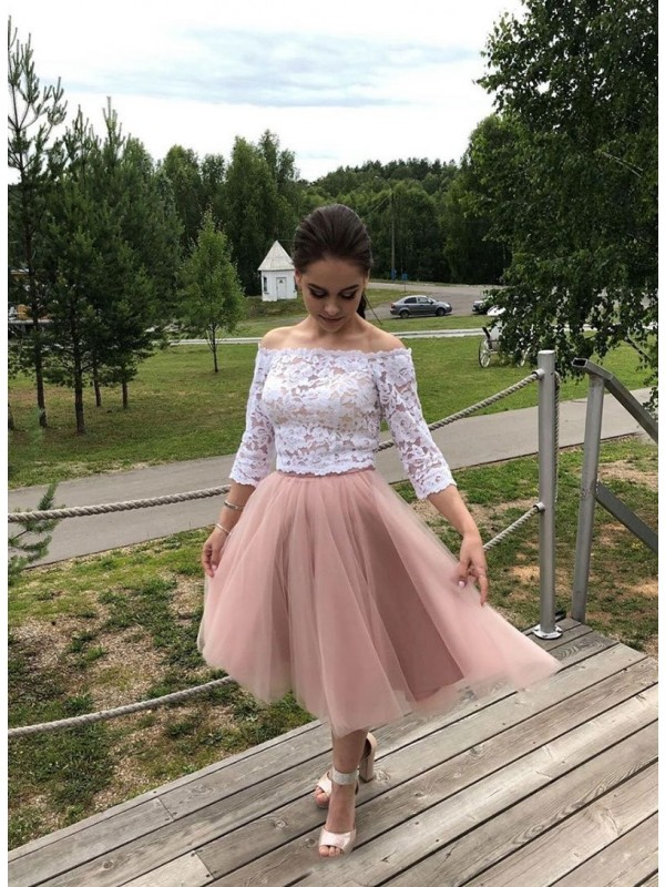 A-Line/Princess Tulle Lace Off-the-Shoulder Tea-Length Dresses