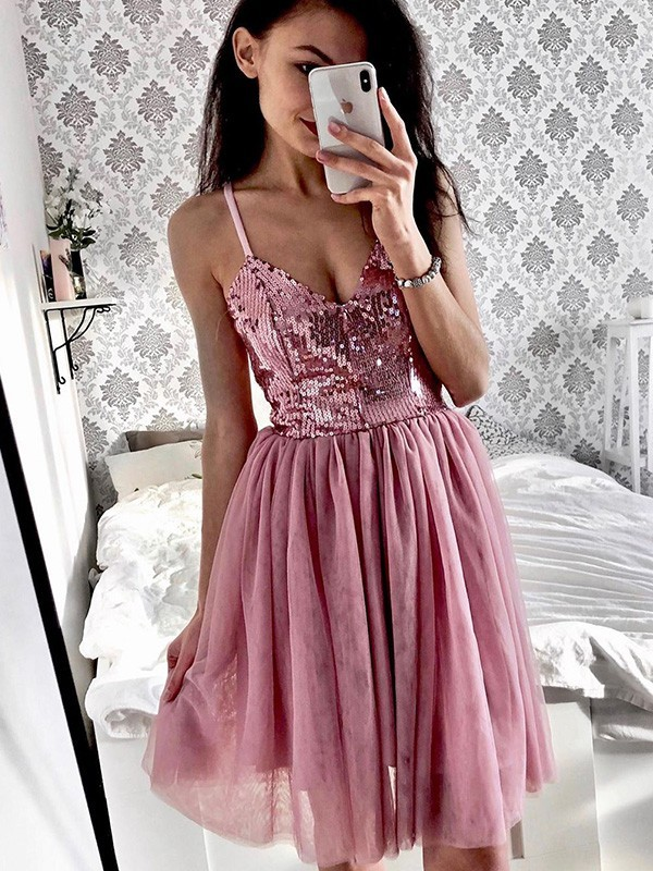 A-Line/Princess Tulle Sequin Spaghetti Straps Short/Mini Dresses