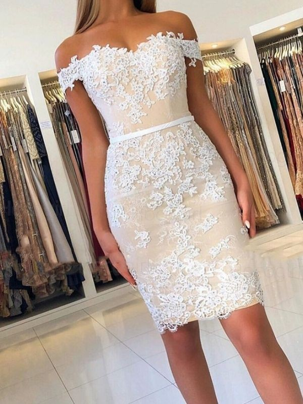 Sheath/Column Lace Off-the-Shoulder Applique Short/Mini Dresses