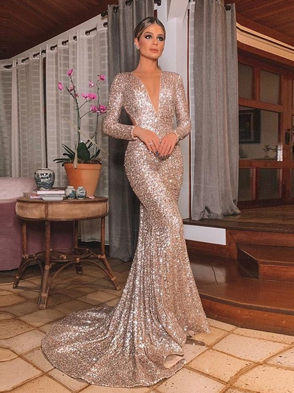 Mermaid Long Sleeves V-neck Long Ruffles Sequins Dresses