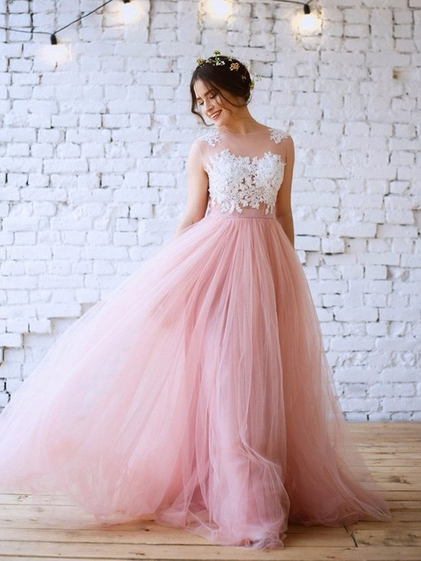 A-Line Bateau Sleeveless Long Tulle Applique Dresses