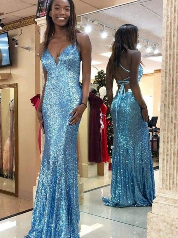 Mermaid Sleeveless V-neck Long Sequins Ruffles Dresses