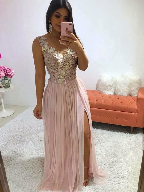 A-Line Sleeveless Long V-neck Chiffon Applique Dresses