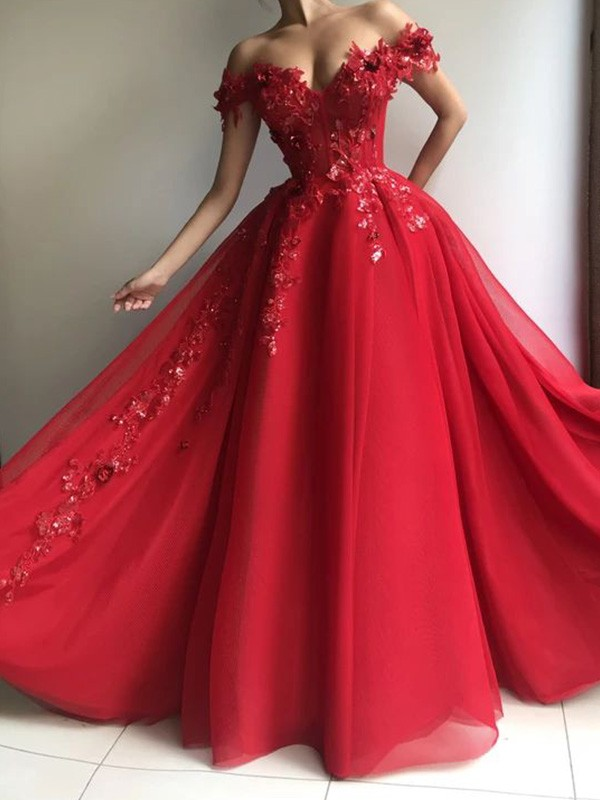A-Line Off-the-Shoulder Sleeveless Long Tulle Applique Dresses