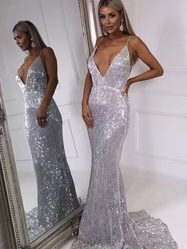 Mermaid V-neck Long Sleeveless Sequins Ruffles Dresses
