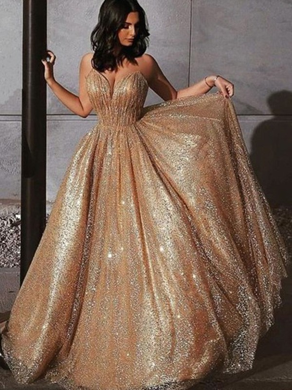 A-Line Spaghetti Straps Sleeveless Long Sequins Tulle Dresses
