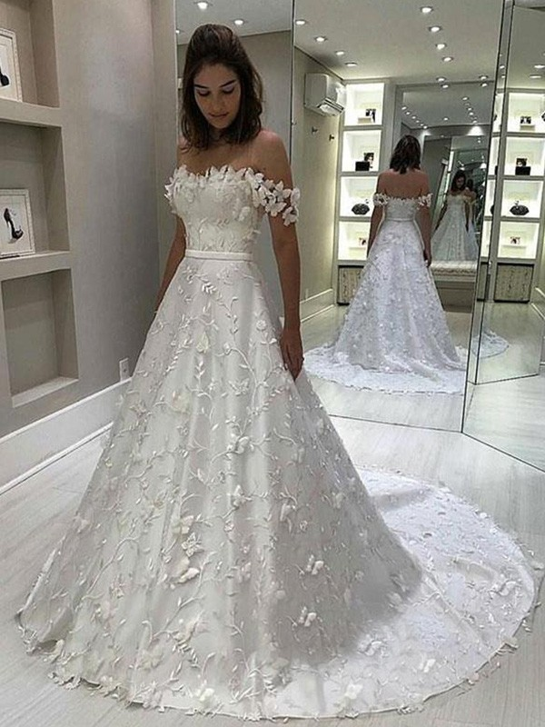 A-Line Off-the-Shoulder Sleeveless Long Satin Applique Wedding Dresses