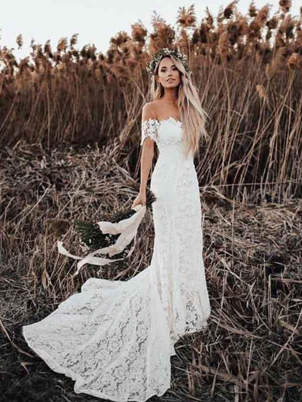 Mermaid Off-the-Shoulder Short Sleeves Long Lace Applique Wedding Dresses
