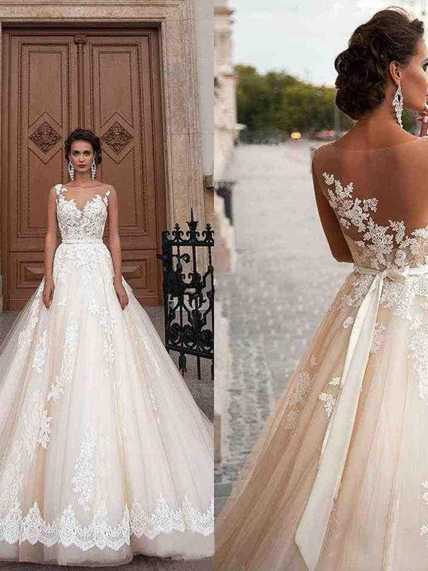 A-Line Scoop Sleeveless Long Tulle Applique Wedding Dresses