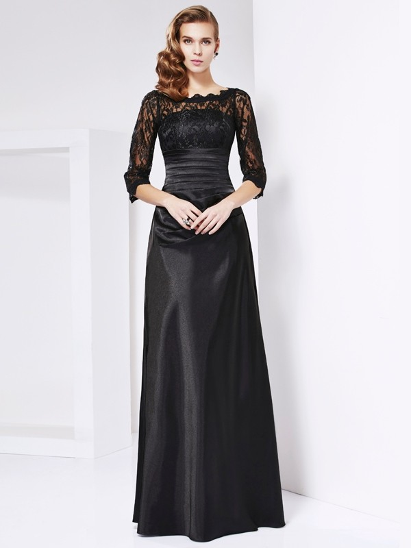 Sheath/Column Off the Shoulder 3/4 Sleeves Lace Long Elastic Woven Satin Mother of the Bride Dress
