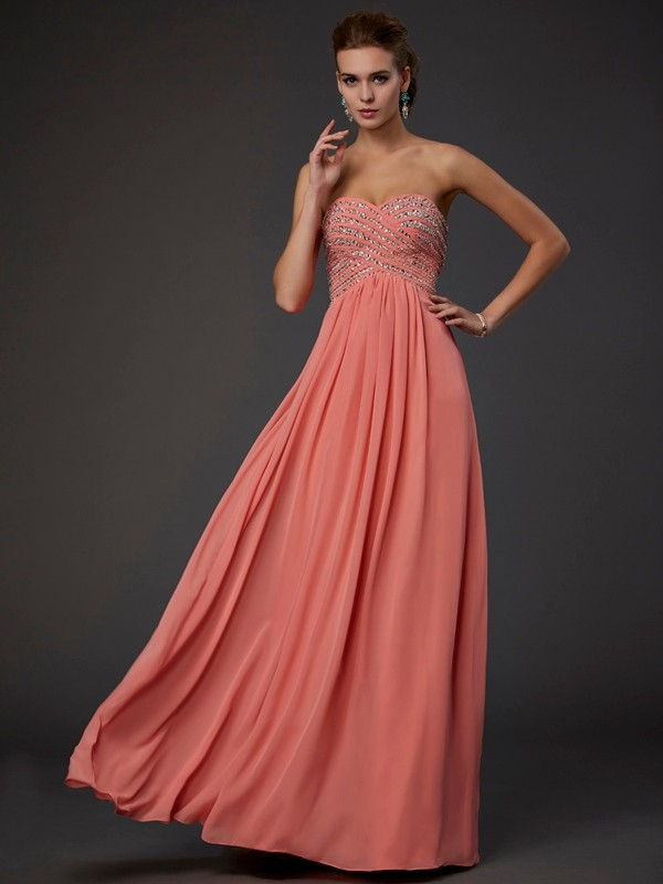 A-Line/Princess Sweetheart Long Chiffon Dress