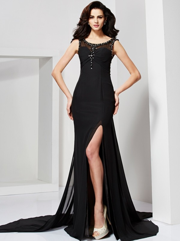Sheath/Column Scoop Long Chiffon Dress
