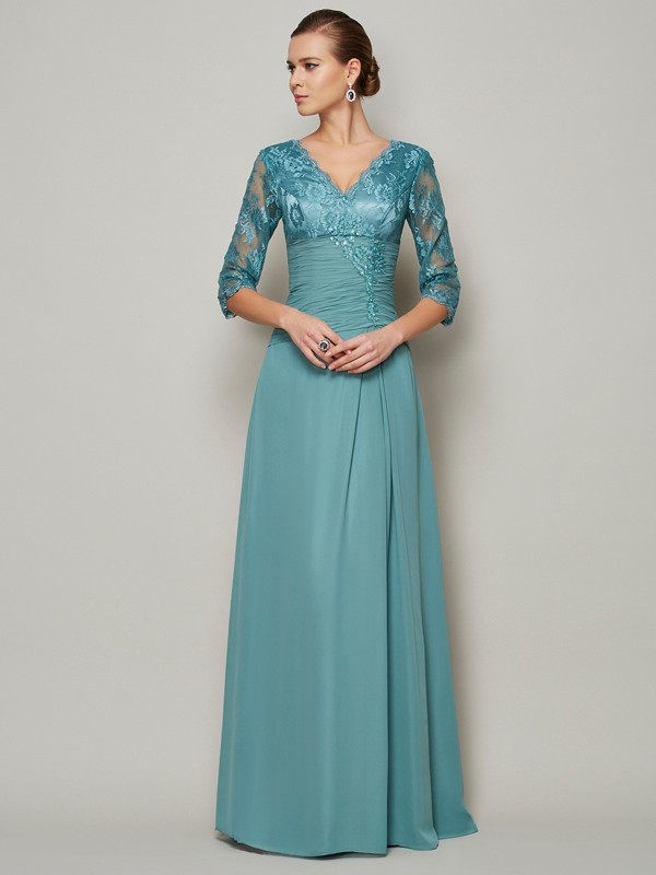 A-Line/Princess V-neck 3/4 Sleeves Lace Long Chiffon Mother of the Bride Dress