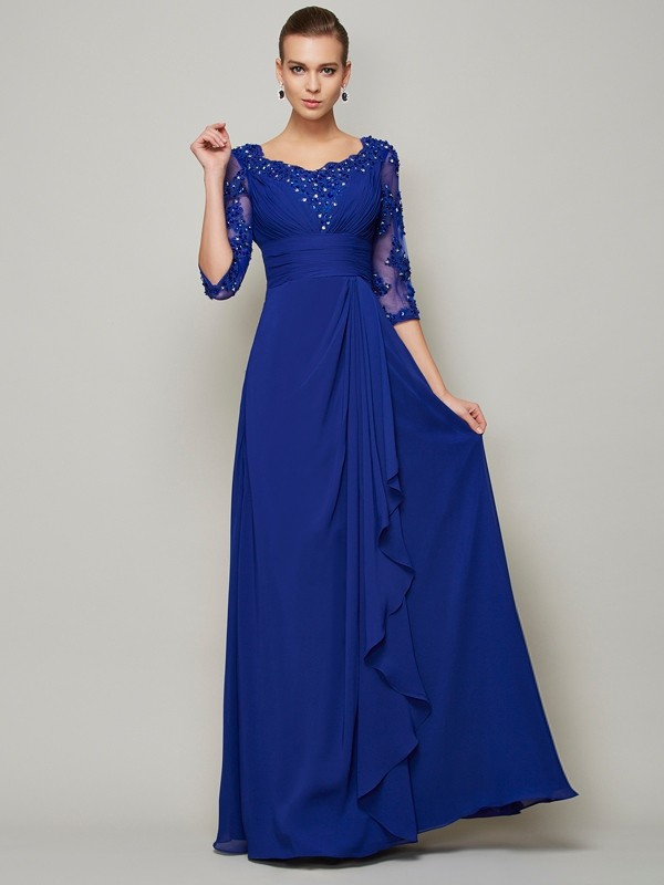 A-Line/Princess Scoop 3/4 Sleeves Lace Long Chiffon Mother of the Bride Dress