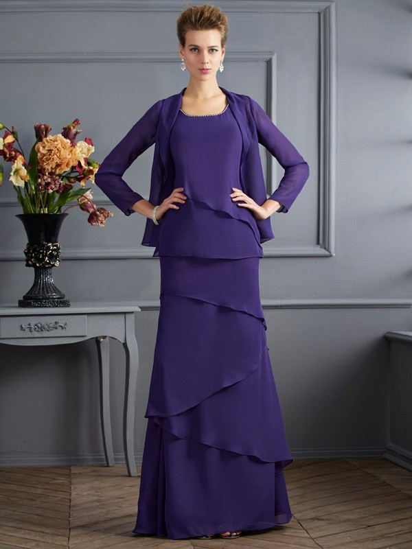 Sheath/Column Scoop Long Chiffon Mother of the Bride Dress