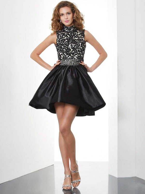 A-Line/Princess High Neck Short Taffeta Cocktail Dress