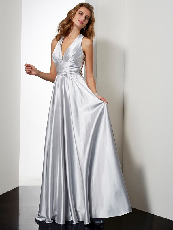 Sheath/Column Halter Long Elastic Woven Satin Dress