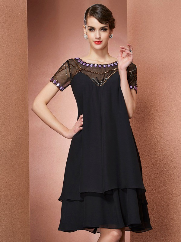 A-Line/Princess Scoop Short Sleeves Short Chiffon Mother of the Bride Dress