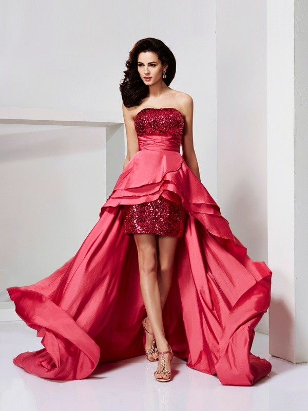 A-Line/Princess Strapless Lace Asymmetrical Taffeta Dress