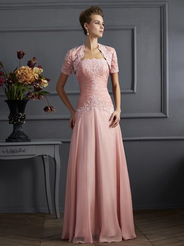 A-Line/Princess Sweetheart Long Chiffon Mother of the Bride Dress