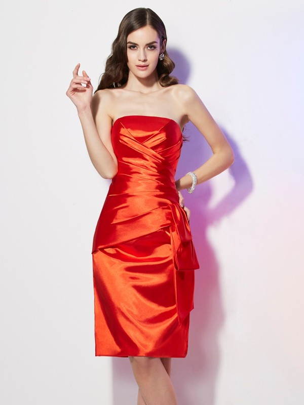 Sheath/Column Strapless Short Elastic Woven Satin Dress