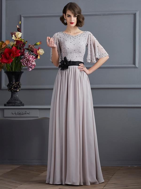 A-Line/Princess High Neck 1/2 Sleeves Long Chiffon Dress