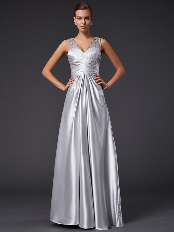A-Line/Princess V-neck Long Elastic Woven Satin Dress