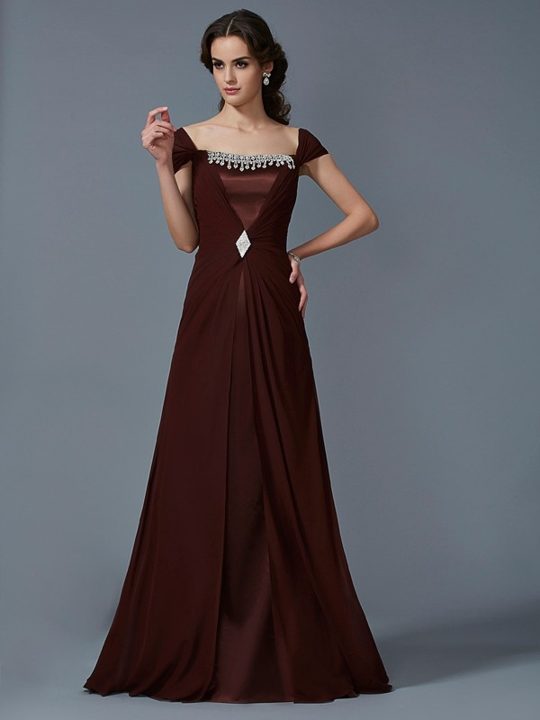 A-Line/Princess Strapless Short Sleeves Long Chiffon Dress