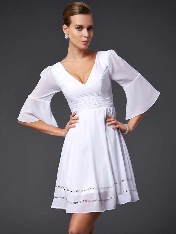A-Line/Princess V-neck 1/2 Sleeves Short Chiffon Bridesmaid Dress