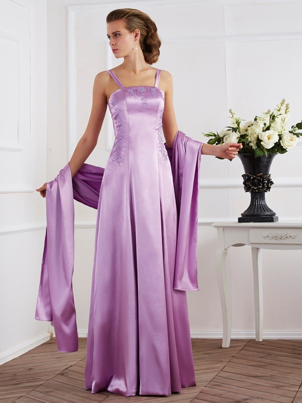 A-Line/Princess Spaghetti Straps Long Elastic Woven Satin Mother of the Bride Dress