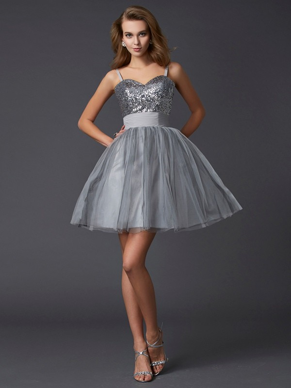 A-Line/Princess Spaghetti Straps Short Organza Cocktail Dress