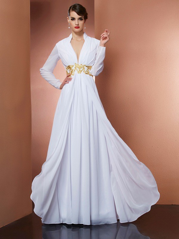 A-Line/Princess V-neck Long Sleeves Long Chiffon Dress