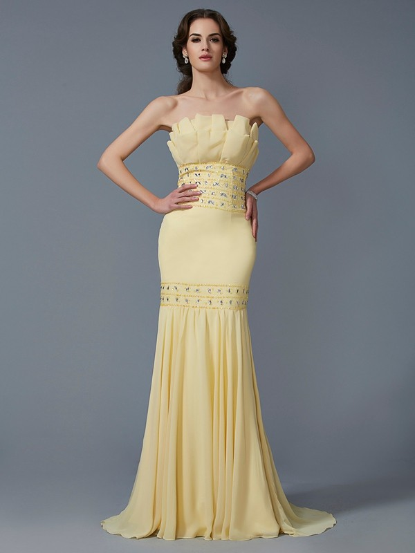 Mermaid Strapless Long Chiffon Dress
