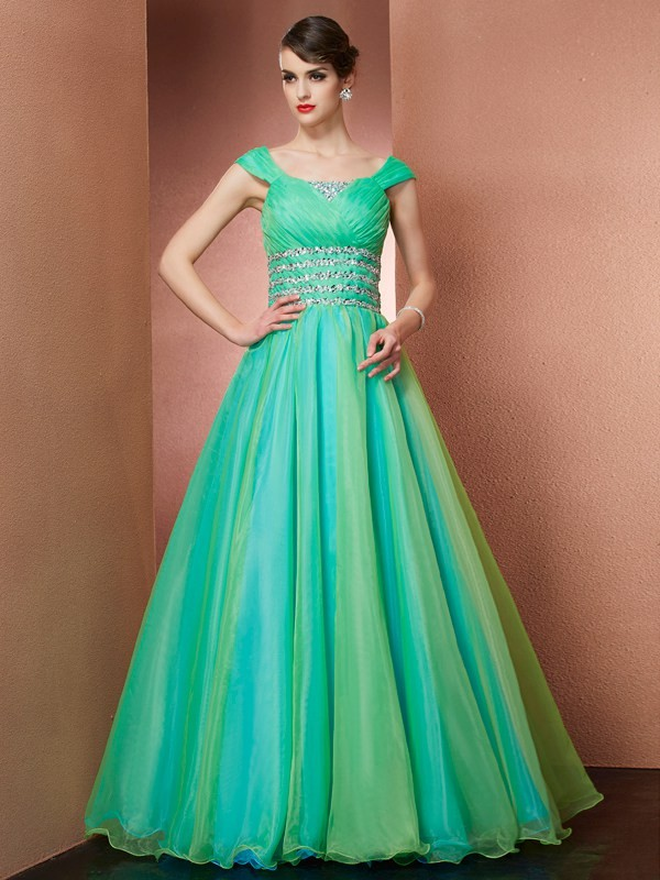 Ball Gown Off the Shoulder Long Satin Quinceanera Dress