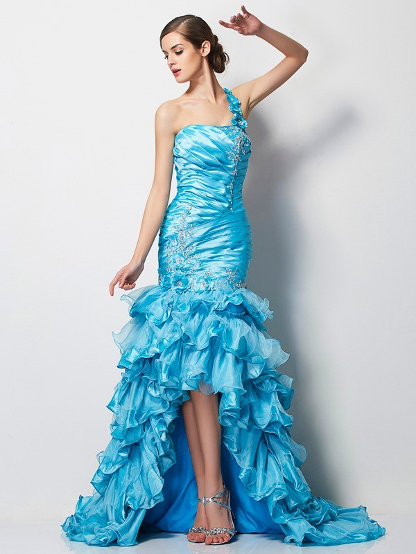 Mermaid One-Shoulder Asymmetrical Taffeta Dress