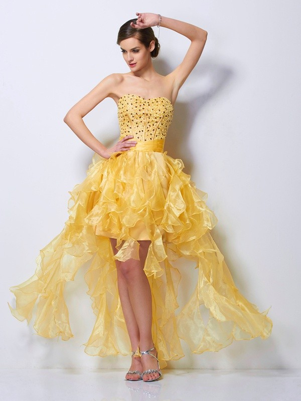 A-Line/Princess Sweetheart Asymmetrical Tulle Cocktail Dress