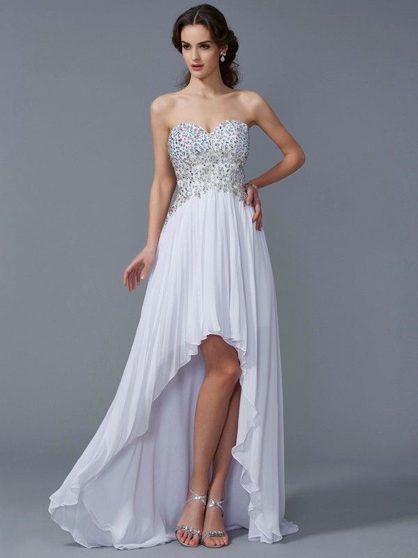 A-Line/Princess Sweetheart Asymmetrical Chiffon Dress