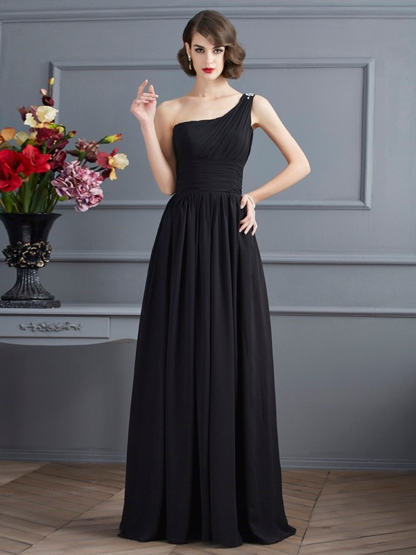 A-Line/Princess One-Shoulder Chiffon Long Mother of the Bride Dress