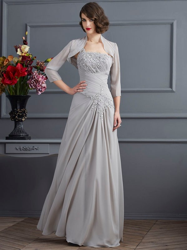 A-Line/Princess One-Shoulder Long Chiffon Mother of the Bride Dress