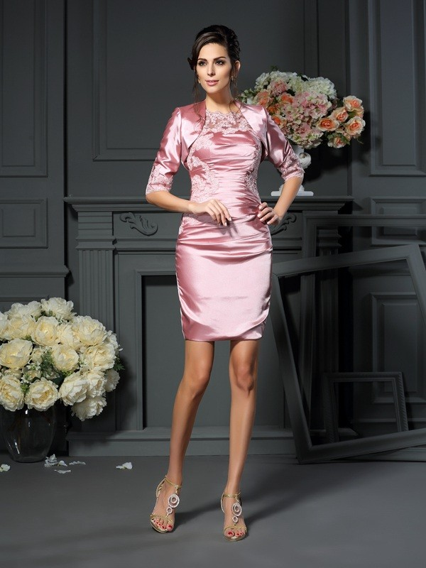 Sheath/Column Scoop Short Elastic Woven Satin Mother of the Bride Dress