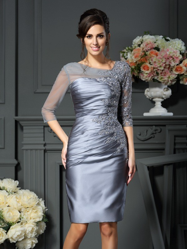 Sheath/Column Scoop 1/2 Sleeves Short Satin Mother of the Bride Dress