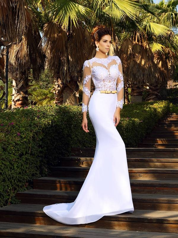 Sheath/Column Scoop Long Sleeves Long Satin Wedding Dress