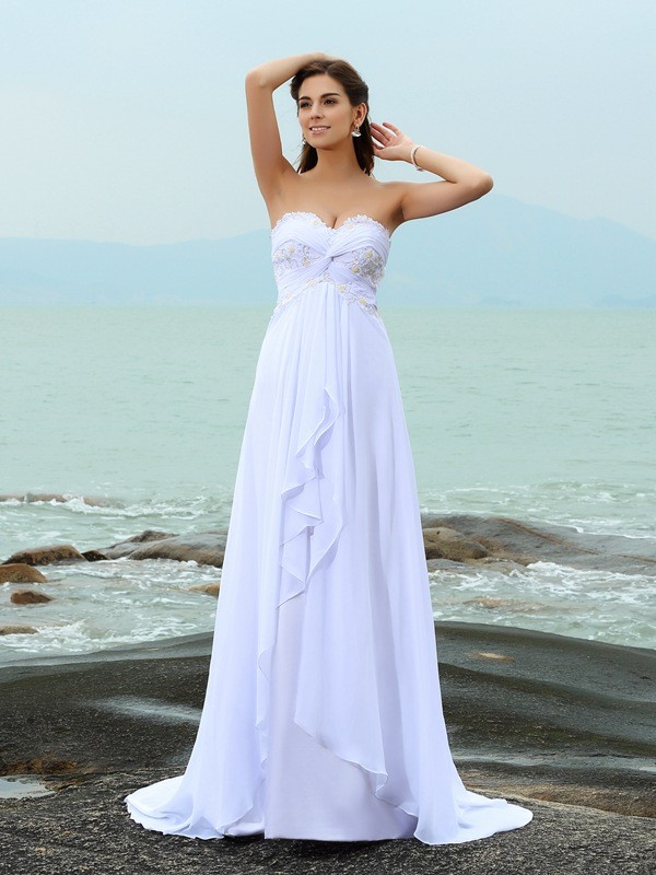 A-Line/Princess Sweetheart Long Chiffon Beach Wedding Dress