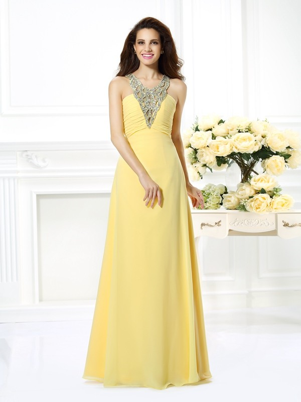 A-Line/Princess V-neck Long Chiffon Dress