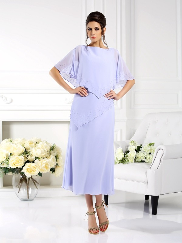 Sheath/Column Bateau 1/2 Sleeves Long Chiffon Mother of the Bride Dress