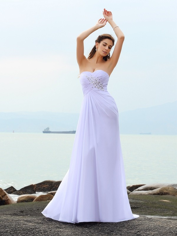 Sheath/Column Sweetheart Long Chiffon Beach Wedding Dress